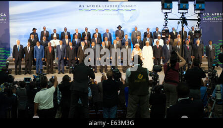 U.S. President Barack Obama participates in a family photo with African leaders on the final day of the U.S.-Africa - Stock Photo