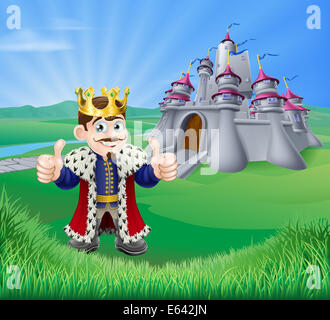 An illustration of a cartoon king giving a thumbs up and fairytale castle in green landscape of rolling hills - Stock Photo