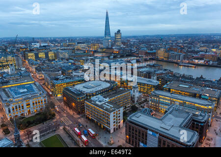 View over River Thames & The Shard, London, UK - Stock Photo