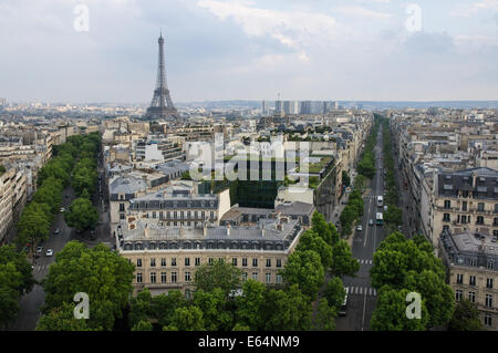 The Eiffel Tower seen from Arc de Triomphe in Paris, France - Stock Photo