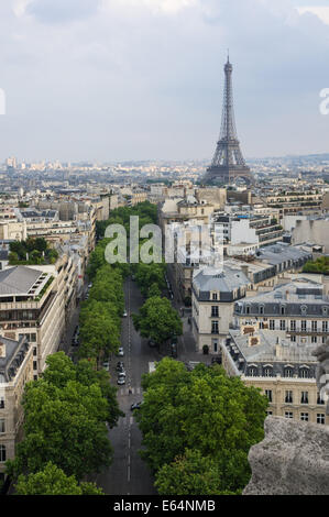 The Eiffel Tower view from Arc de Triomphe in Paris, France - Stock Photo
