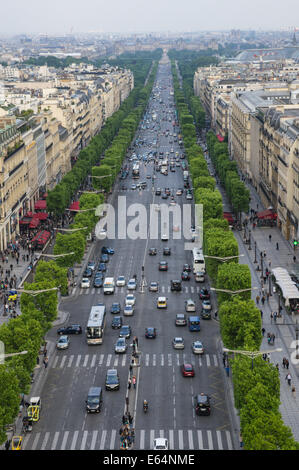 A view of the Avenue des Champs Elysees from Arc de Triomphe in Paris, France - Stock Photo