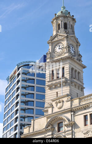 Clock tower of Auckland Town Hall. - Stock Photo