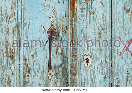 Old, turquoise Turkish door.  Wood texture background - Stock Photo