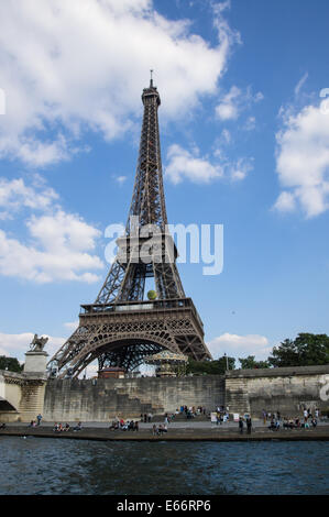 The Eiffel Tower seen from river Seine in Paris, France - Stock Photo