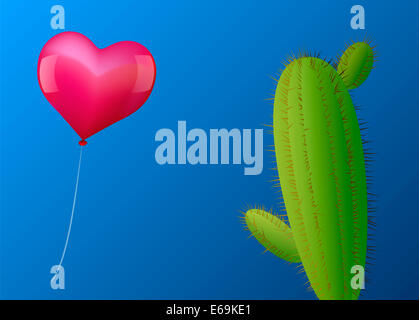 A pink heart shaped balloon approaches a cactus with many spines. - Stock Photo