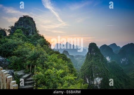 Karst mountain landscape in Xingping, Guangxi Province, China. - Stock Photo