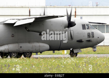 An Alenia C-27J Spartan of the Italian Air Force taxiing at Turin Airport, Italy. - Stock Photo