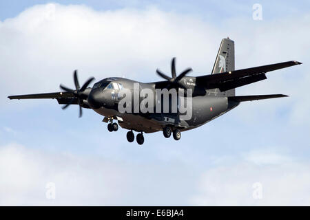 An Alenia C-27J Spartan of the Italian Air Force in flight over Italy. - Stock Photo