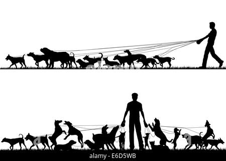 Two foreground silhouettes of a man walking many dogs with all elements as separate editable objects - Stock Photo