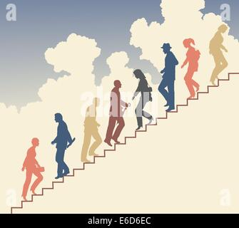 Colorful editable vector silhouette of people on stairs against the sky - Stock Photo