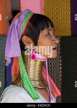 Karen, Long Neck, Hill tribe, Padaung, in Mae Hong Sorn, Thailand - Stock Photo