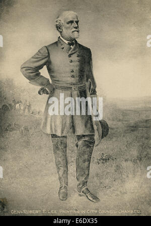 Vintage civil war color painting of general robert e lee for Lee s painting