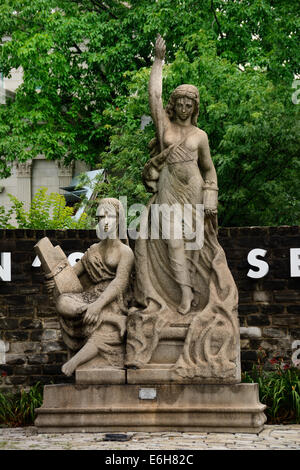 Navigation and Enlightenment is a granite sculpture that originally adorned the top of Pittsburgh's Fourth Avenue - Stock Photo