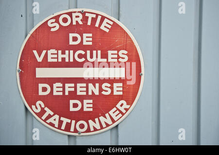 French no car parking signal - Stock Photo