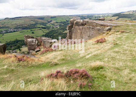 Gritstone outcrops along Curbar Edge in the Peak District Derbyshire - Stock Photo