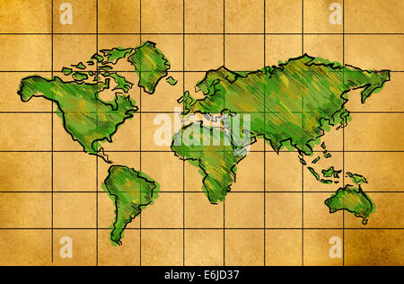 World Map Sketch Green watercolor on Old Paper Grid - Stock Photo
