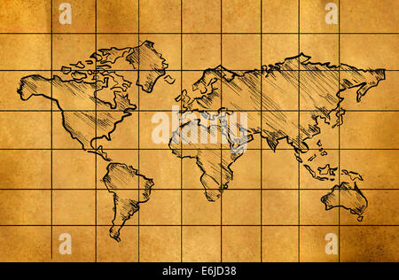 World map on grid background this is a 3d rendered computer stock world map sketch on old paper grid art drawing stock photo gumiabroncs Images