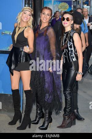 New York, NY, USA. 25th Aug, 2014. 3rd Eye Girl: Hannah 'Ford' Welton, Ida Nielsen, Donna Grantis at talk show appearance - Stock Photo