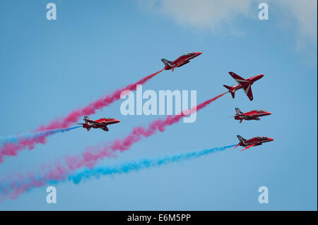 The Royal Air Force display team the Red Arrows, Dawlish Air Show Aug 23, 2014. - Stock Photo