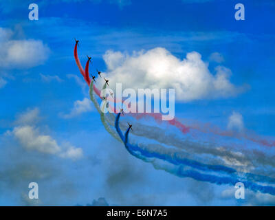 Royal Air Force Red Arrows display team at the Eastbourne International Airshow, August 2014 - Stock Photo