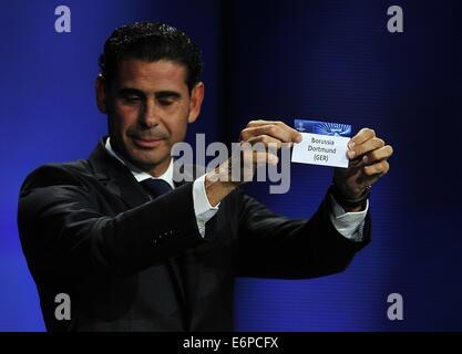 Monte Carlo, Monaco. 28th Aug, 2014. FERNANDO HIERRO ex Real Madrid soccer player, s chosen Borussia Dortmund, group - Stockfoto
