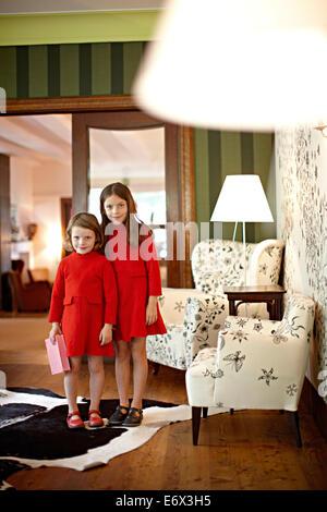 Girls in the salon of Hotel Haus Hirt, Bad Gastein, St. Johann im Pongau, Salzburg, Austria - Stock Photo