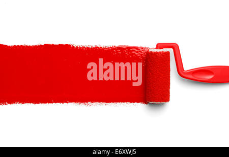 Plastic Paint Roller with Red Paint Isolated on White Background. - Stock Photo