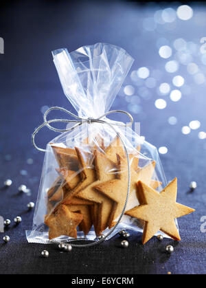 Star-shaped shortbread cookies - Stock Photo