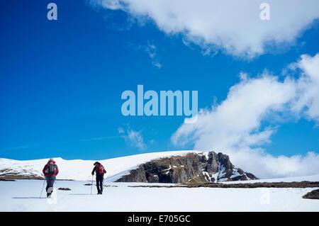 Two men hiking in snow, Bucegi Mountains, Transylvania, Romania - Stock Photo