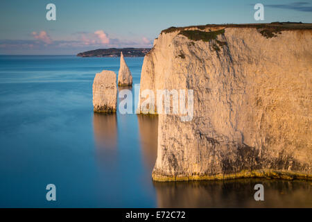 Dawn at the white cliffs and Harry Rocks at Studland, Isle of Purbeck, Jurassic Coast, Dorset, England - Stockfoto