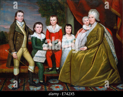 Mrs. Noah Smith and Her Children - by Ralph Earl, 1798 - Stock Photo