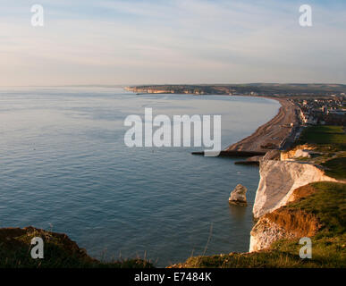 View from Seaford Head over Seaford Bay towards Newhaven and a distant Brighton taken late afternoon - Stock Photo