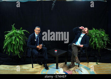 President Barack Obama participates in an interview with Zach Galifianakis for 'Between Two Ferns with Zach Galifianakis' - Stock Photo