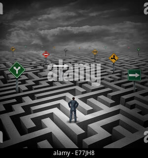 Strategy crisis concept as a businessman standing on a three dimensional maze or labyrinth with confusing direction - Stock Photo