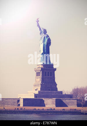 Vintage picture of Statue of Liberty, NYC, USA. - Stock Photo