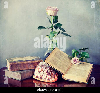 Interior still life, composition of antique books, pink roses and shell with retro desaturated Instagram-like effects - Stockfoto
