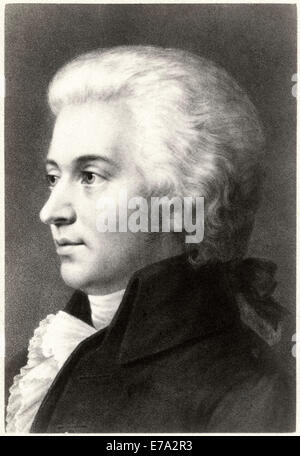 Wolfgang Amadeus Mozart (1756–1791), Composer during Classical Era, Portrait, Cabinet Card - Stock Photo