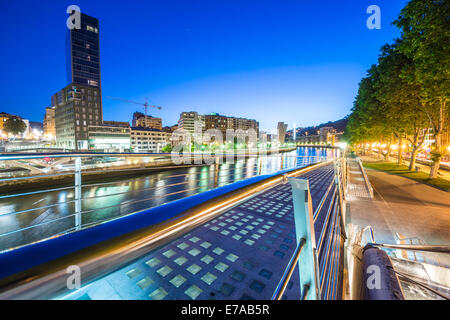 a view of Bilbao river from a Bridge to the center of the city - Stock Photo
