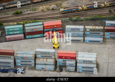 An aerial view of a containerised freight yard in Doncaster, South Yorkshire. - Stock Photo
