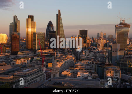 This image shows a view of the City of London from the Golden Gallery of St. Paul's Cathedral, London, England, - Stock Photo
