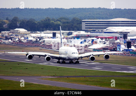 Airbus A380-841 at Farnborough International Airshow 2014 - Stock Photo