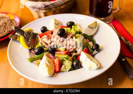Salad with tuna, tomatoes, basil and onion. - Stock Photo