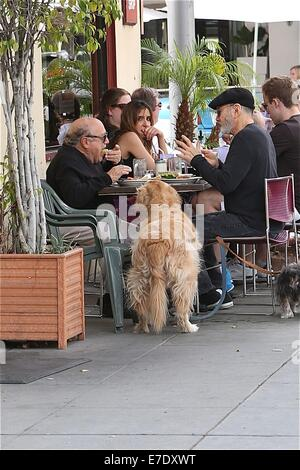 danny devito out for lunch with friends with their pet dog. Black Bedroom Furniture Sets. Home Design Ideas