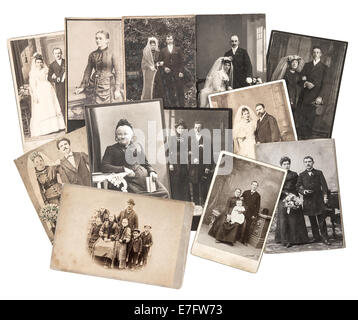group of vintage family and wedding photos circa 1885-1900. nostalgic sentimental pictures collage on white background. - Stock Photo