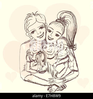 Cheerful family.Portrait of the father, mother, children - Stockfoto