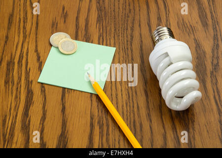 Light bulb with pencil and post-it and two euro coins - Stock Photo