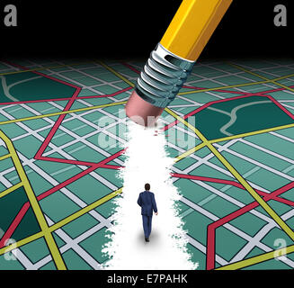 Innovative path and road to success concept as a businessman walking through a confusing highway map with a pencil - Stock Photo