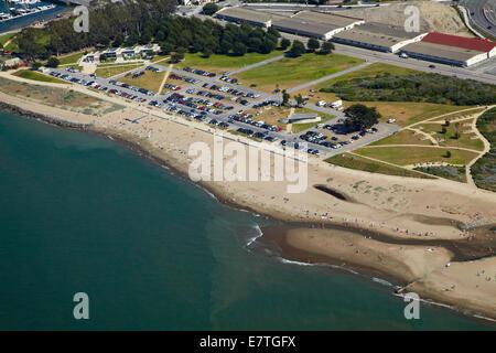 East Beach and Crissy Field, San Francisco, California, USA - aerial - Stock Photo