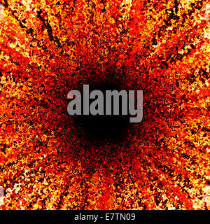 Abstract red pattern with black centre, computer artwork. - Stock Photo